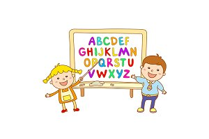 Alphabet font color for children ABC