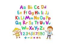 Alphabet font color for children ABC