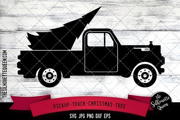 Pickup Truck Christmas Tree Svg Pre Designed Illustrator Graphics Creative Market