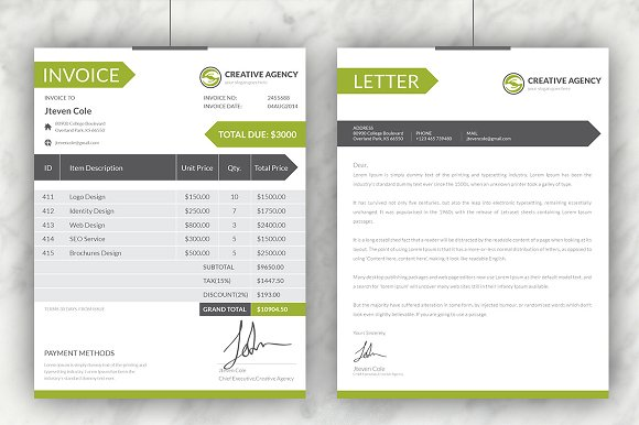 Creative invoices cover letter stationery templates creative creative invoices cover letter stationery templates creative market thecheapjerseys Choice Image
