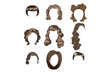 Set of female multi-colored wigs