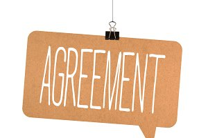 Agreement word on cardboard