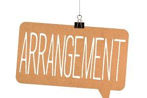 Arrangement word on cardboard
