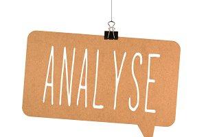 Analyse word on cardboard