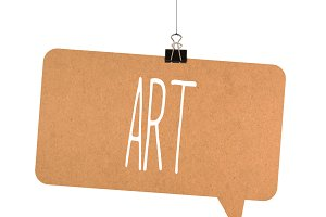 Art word on cardboard