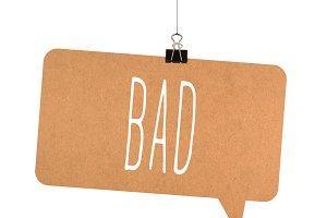 Bad word on cardboard