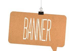 Banner word on cardboard