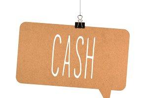 Cash word on cardboard