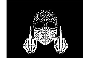 Skull vector with middle finger up a
