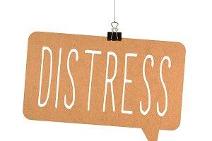 Distress word on cardboard