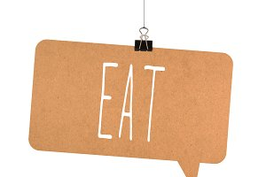 Eat word on cardboard