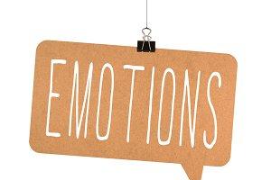 Emotions word on cardboard