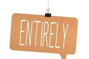 Entirely word on cardboard