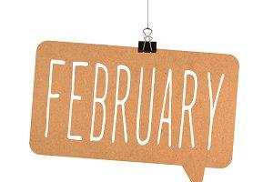 February word on cardboard