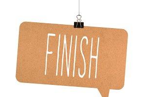 Finish word on cardboard