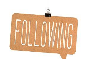 Following word on cardboard