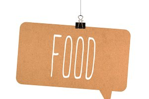 Food word on cardboard