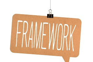 Framework word on cardboard