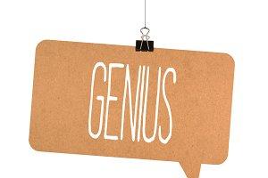 Genius word on cardboard