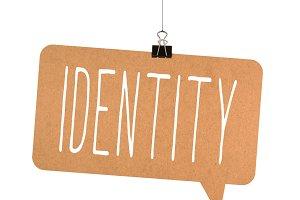 Identity word on cardboard