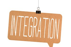 Integration word on cardboard