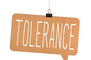 Tolerance word on cardboard