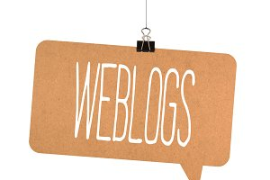 Weblogs word on cardboard