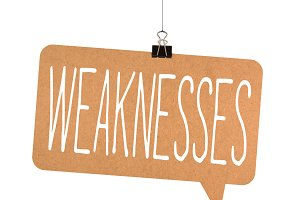 Weaknesses word on cardboard