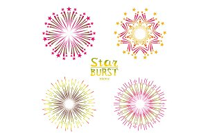Set color starburst abstract vector