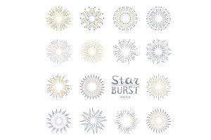 Set color starburst abstract vector.
