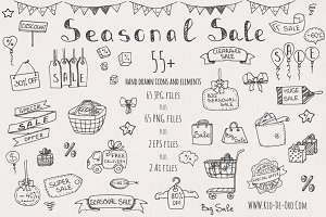 55+ Seasonal Sale Hand drawn icons