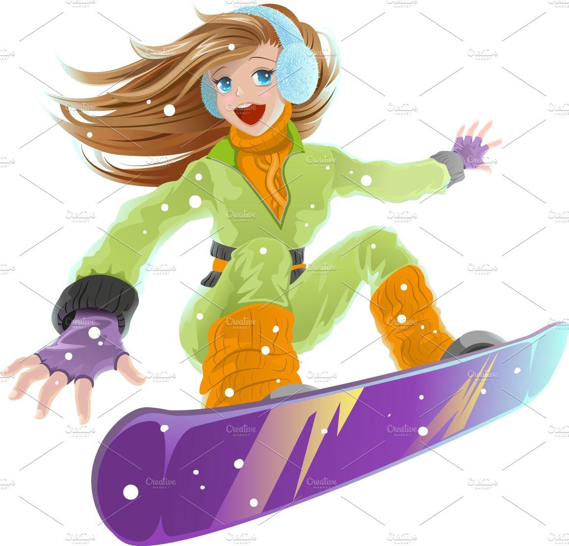 Girl on a snowboard ~ Illustrations ~ Creative Market