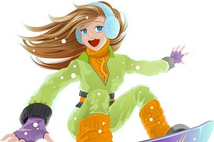 Girl on a snowboard