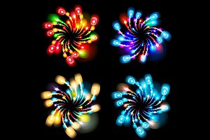 set colorful lights salute fireworks