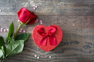 Gift box with heart shape and roses