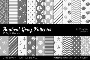 Nautical Gray Digital Papers