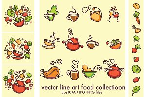 common food in line art style