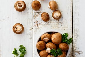 Brown mushrooms with herbs