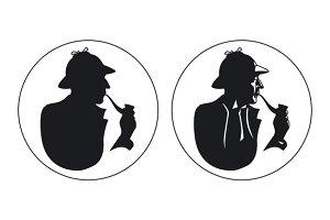 Detective pipe smoker silhouette
