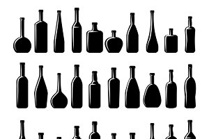 Wine and beer bottles silhouettes