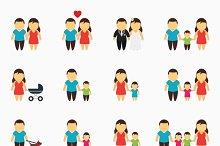 Flat family icons set