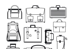 Luggage icons set