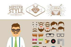Hipster man accessories, hairstyles