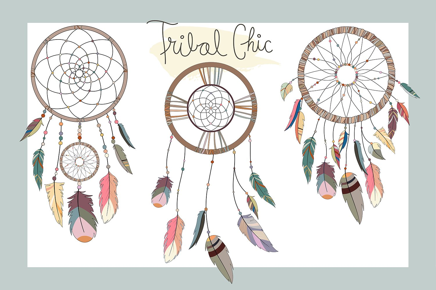 dream catchers tribal vector png illustrations