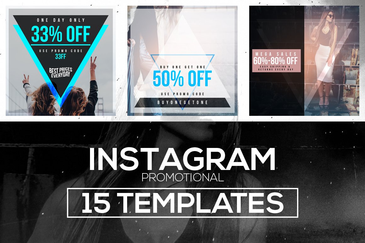 15 instagram templates vol 1 promo instagram templates creative market. Black Bedroom Furniture Sets. Home Design Ideas