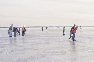 Ice skating on a lake