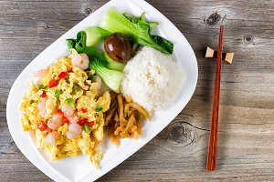 Fried Egg and Shrimp Asian Dish