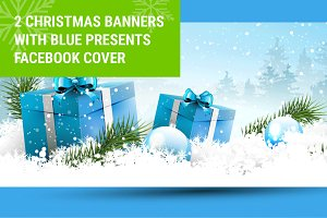 Christmas banners with blue presents