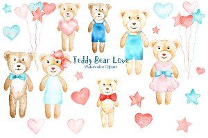Watercolor Clipart Teddy Bear Love