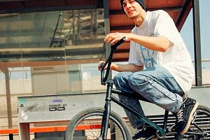 Young man with bmx